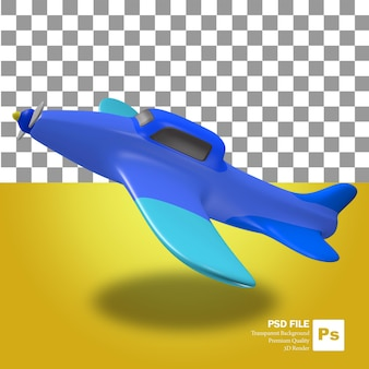3d rendering of cute blue mini airplane object floating in the air