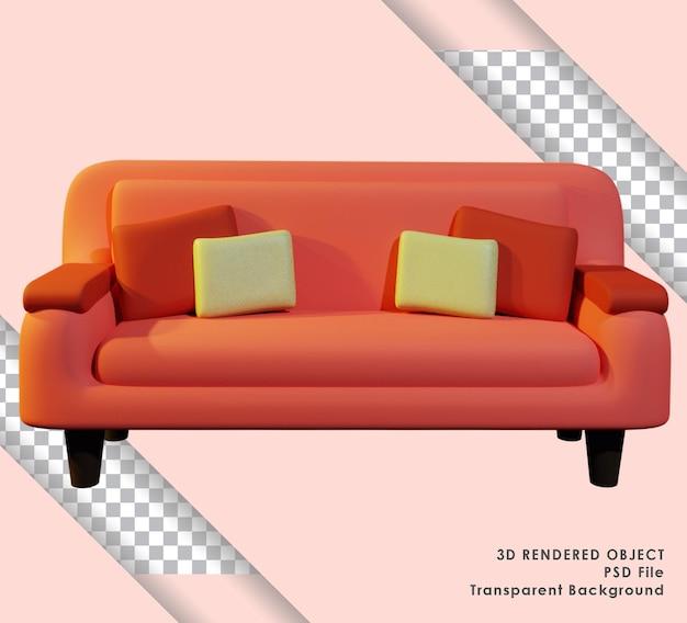 ミニマリズムデザインと透明な背景を持つかわいいソファの3dレンダリング