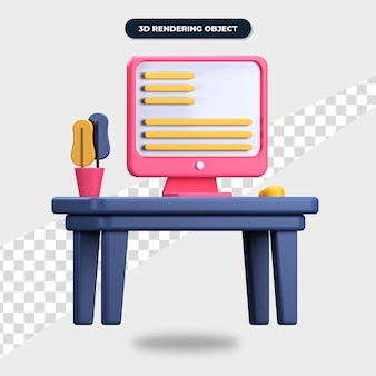 3d 렌더링 책상 아이콘, 컴퓨터, 마우스 및 식물이 있는 책상
