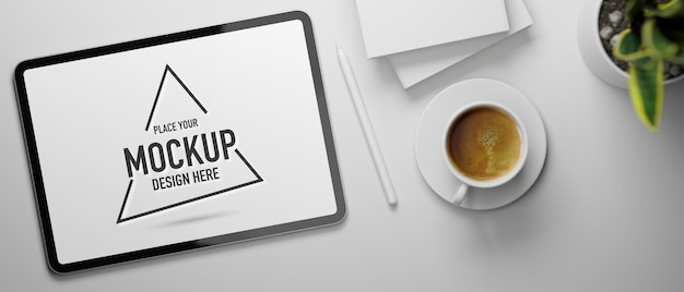 3d rendering digital tablet mockup with coffee cup
