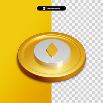 고립 된 황금 동그라미에 3d 렌더링 검색 아이콘