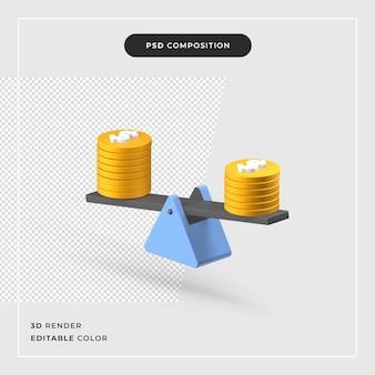 3d-рендеринг концепции финансирования шкалы баланса доллара