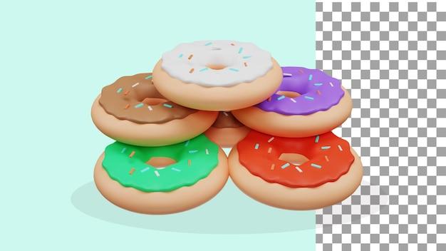 異なる色のpsdの3dレンダリングドーナツ