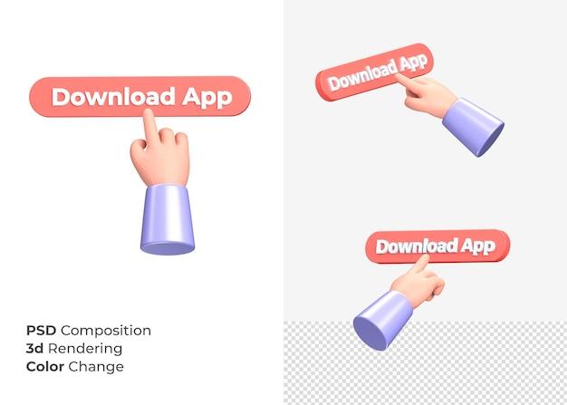 Кнопка приложения для загрузки 3d-рендеринга с концепцией руки