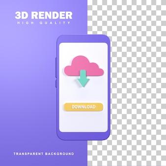 Концепция загрузки 3d-рендеринга с стрелкой вниз.