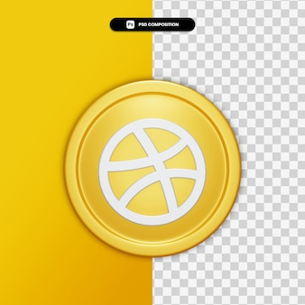 3d rendering dribble icon on golden circle isolated