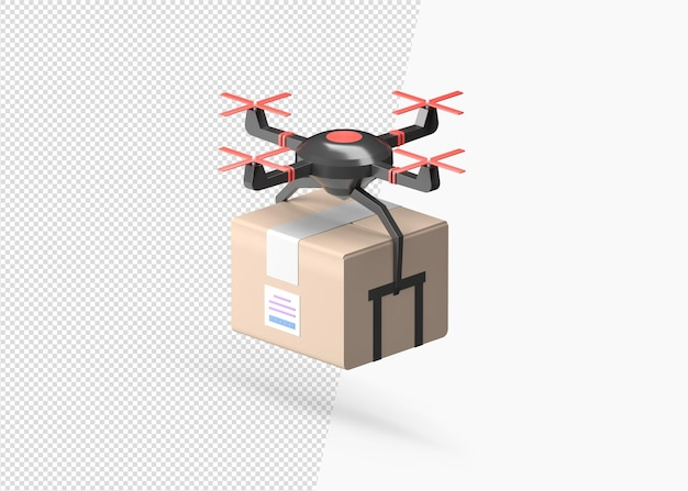 3d rendering drone delivery with the cardboard box