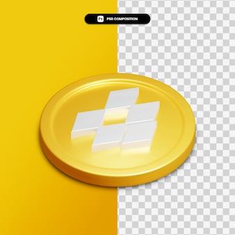 고립 된 황금 동그라미에 3d 렌더링 드롭 박스 아이콘