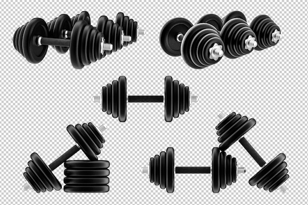 3d rendering dumbbells isolated on white background