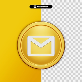 3d rendering e-mail icon on golden circle isolated