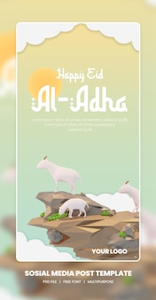 3d rendering of eid al adha portrait social media theme template