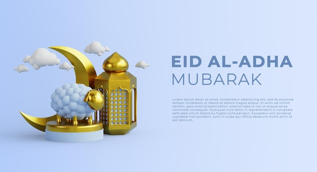 3d rendering eid aladha  celebration template with goat and lantern gold color