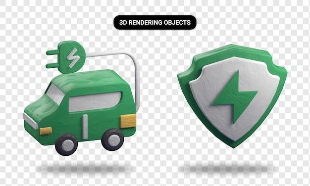 電気自動車とエネルギー保護の3dレンダリング