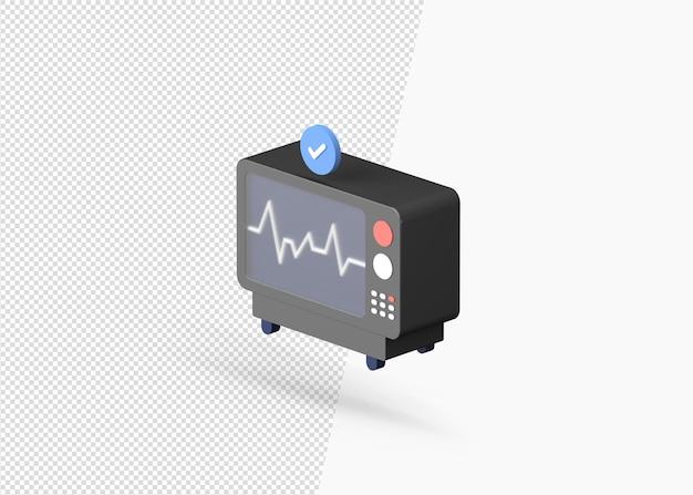 모니터 모델의 3d 렌더링 심전도 심박수