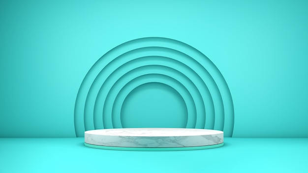 3d rendering of an elegant marble textured podium for product display