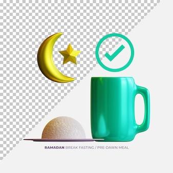 Элементы 3d-рендеринга рамадана ифтара