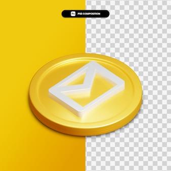 分離された金色の円の3dレンダリングメールアイコン