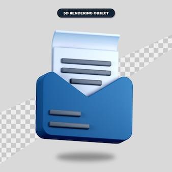 紙のアイコンでメールをレンダリングする3d