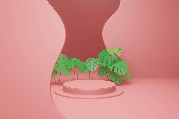 3d рендеринг пустой подиум с тропическими листьями
