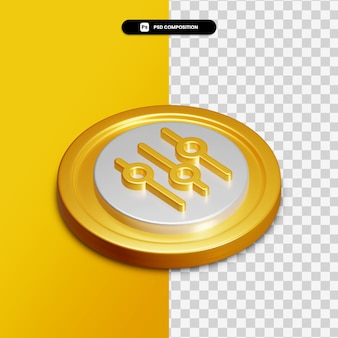 3d rendering equalizer icon on golden circle isolated