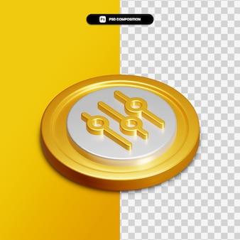 고립 된 황금 동그라미에 3d 렌더링 이퀄라이저 아이콘