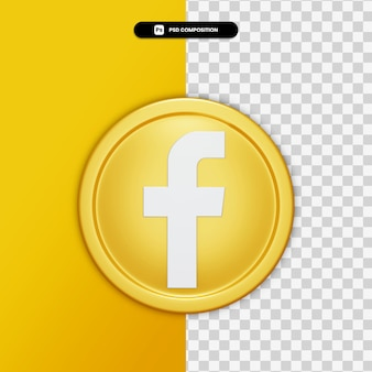3d rendering facebook icon on golden circle isolated Premium Psd