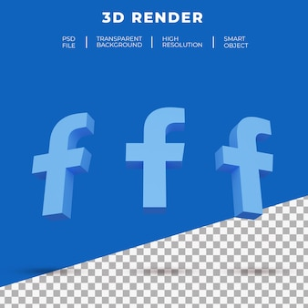 3d 렌더링 페이스 북 로고 절연 프리미엄 PSD 파일