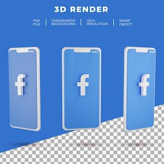 고립 된 스마트 폰의 3d 렌더링 페이스 북 로고