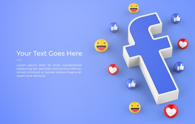 3d rendering of facebook logo with emoji reactions design mockup