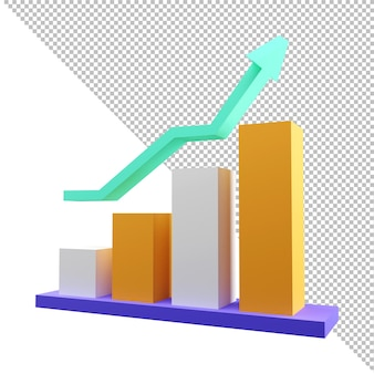 3d rendering financial chart roi concept return on investment profit income