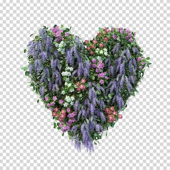 3d rendering flower garden heart shape isolated