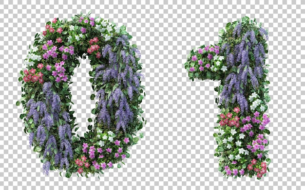 3d rendering flower garden number 0 and number 1 isolated