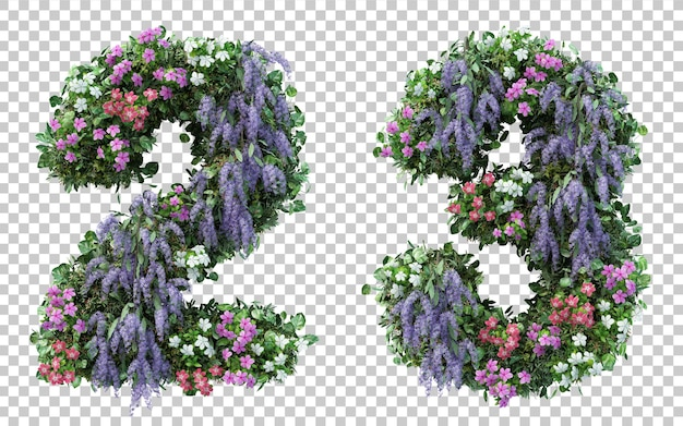 3d rendering flower garden number 2 and number 3 isolated