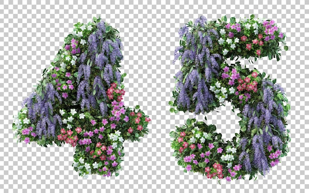 3d rendering flower garden number 4 and number 5 isolated