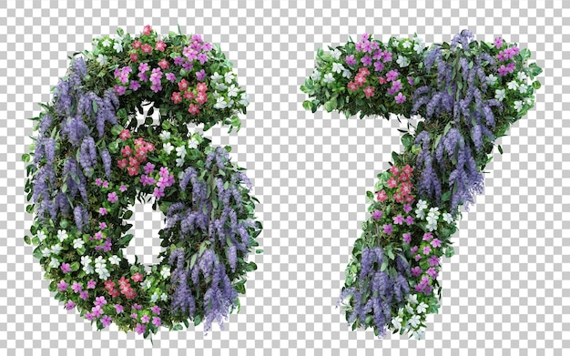 3d rendering flower garden number 6 and number 7 isolated