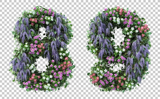 3d rendering flower garden number 8 and number 9 isolated