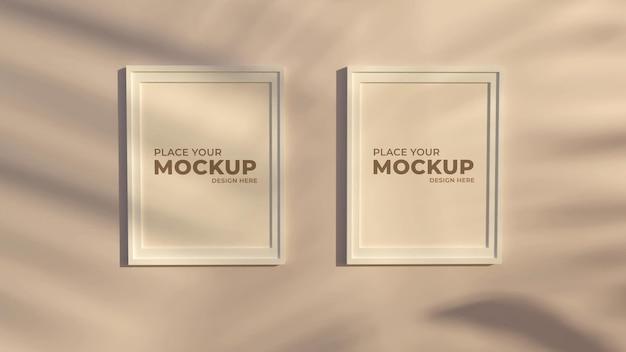 3d rendering frame in living room mockup
