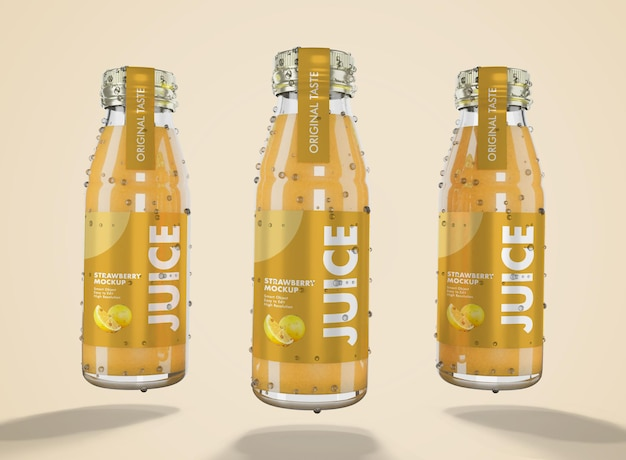 3d rendering of fresh juice mockup with glass bottle