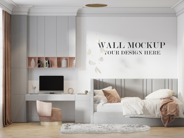 3d rendering front view wall mockup in child room