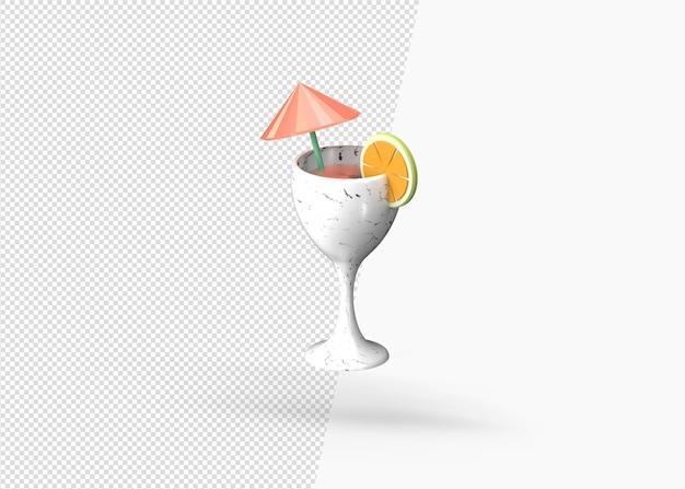 3d рендеринг фруктовый коктейль на пляже
