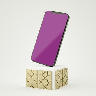 スクリーンスマートフォンのモックアップを使用した3dレンダリングフルシーンイスラム