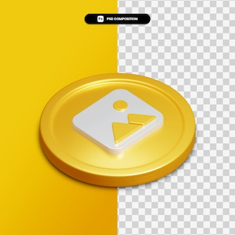 3d rendering gallery icon on golden circle isolated
