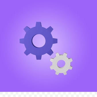 3d rendering gears or settings isolated