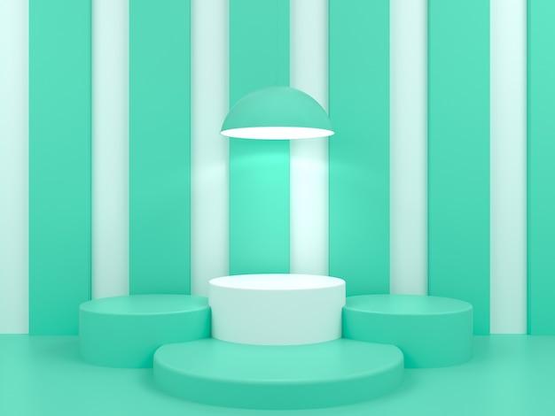3d rendering of geometric shape podium display mockup