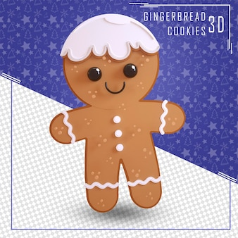 3d rendering gingerbread man sweet isolated