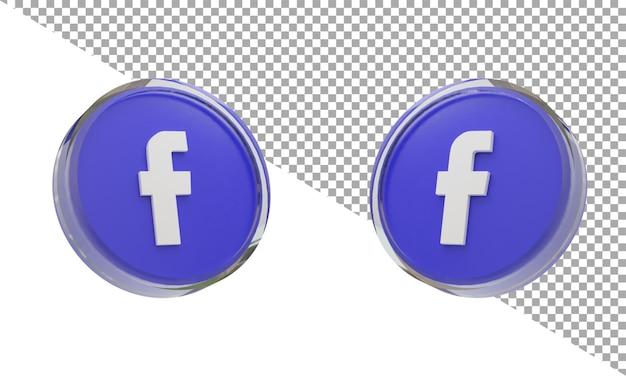 3d 렌더링 유리 아이콘 로고 페이스 북 아이소 메트릭