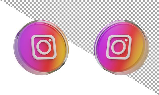 3d 렌더링 유리 아이콘 로고 instagram 아이소메트릭
