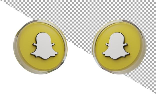 3d 렌더링 유리 아이콘 로고 snapchat 아이소메트릭