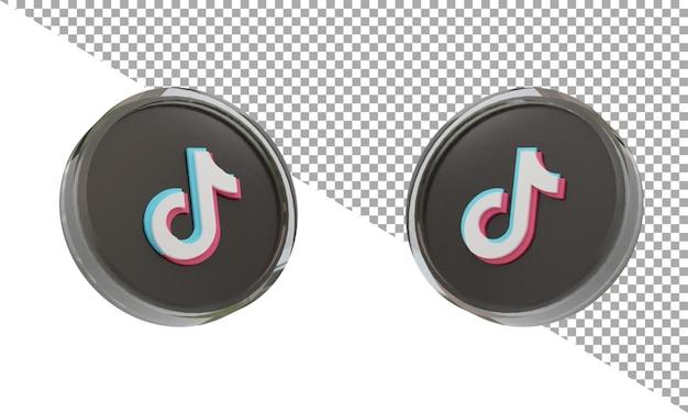 3d 렌더링 유리 아이콘 로고 tiktok 아이소메트릭