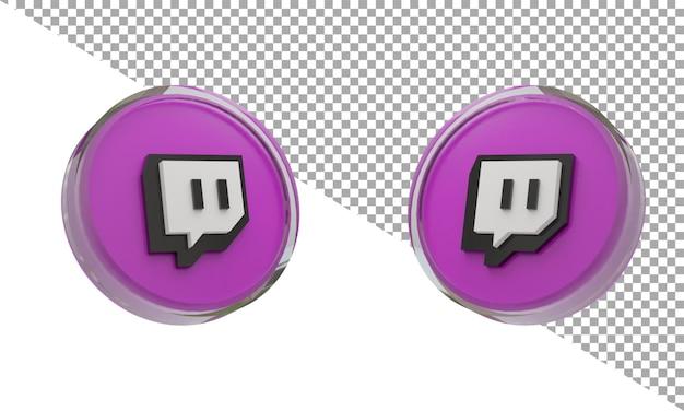 3d 렌더링 유리 아이콘 로고 트 위치 아이소메트릭